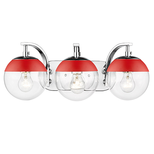 Dixon Chrome and Red 21-Inch Three-Light Bath Vanity