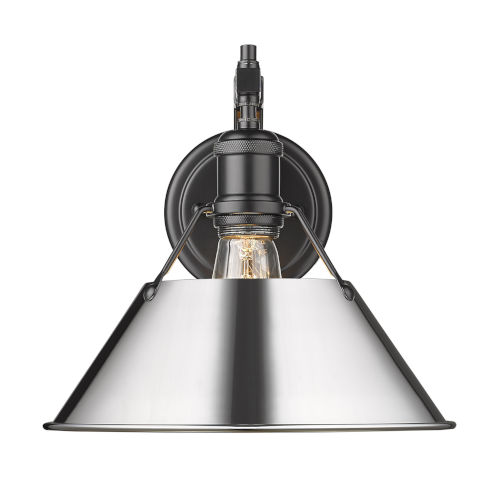 Orwell Matte Black 10-Inch One-Light Wall Sconce with Chrome Shade