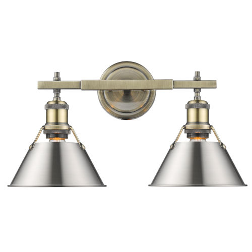 Orwell AB Aged Brass 18-Inch Two-Light Bath Vanity with Pewter Shade