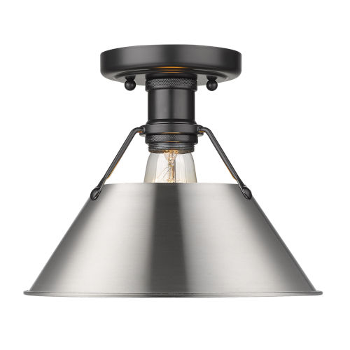 Orwell Matte Black 10-Inch One-Light Flush Mount with Pewter Shade