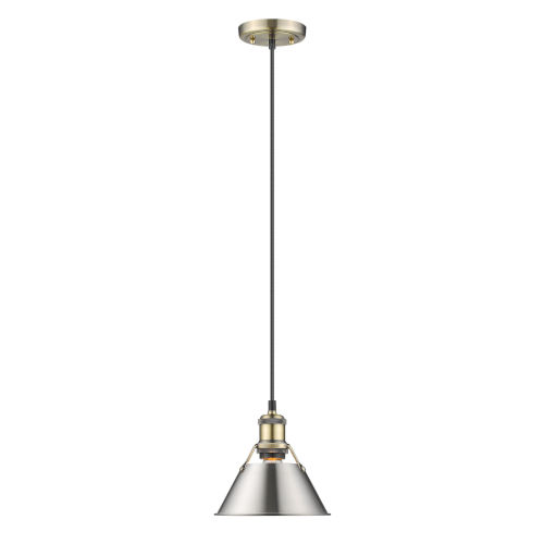Orwell AB Aged Brass Eight-Inch One-Light Mini Pendant with Pewter Shade