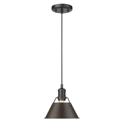 Orwell Matte Black Eight-Inch One-Light Mini Pendant with Rubbed Bronze Shade