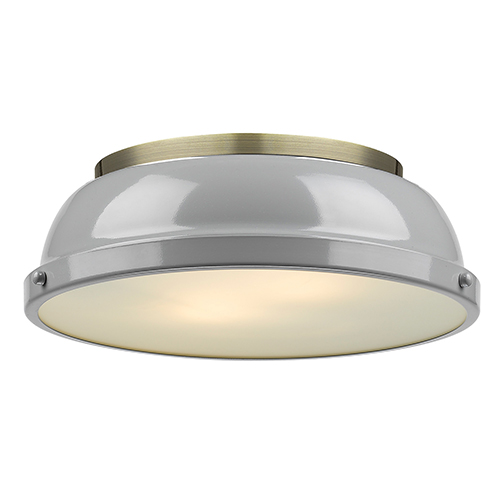 Duncan Aged Brass 14-Inch Two-Light Flush Mount