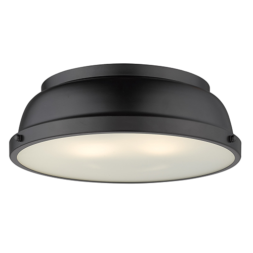 Duncan Matte Black 14-Inch Two-Light Flush Mount