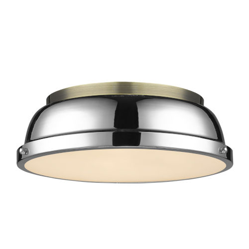 Duncan Aged Brass 14-Inch Two-Light Flush Mount with a Chrome Shade