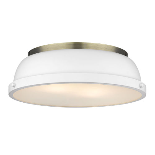 Duncan Aged Brass 14-Inch Two-Light Flush Mount with a Matte White Shade