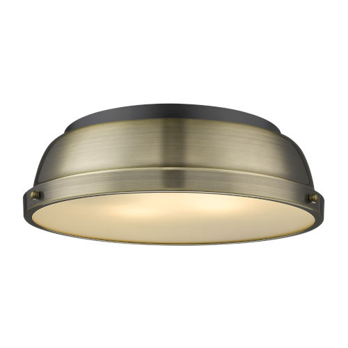 Duncan Matte Black 14-Inch Two-Light Flush Mount with Aged Brass Shade