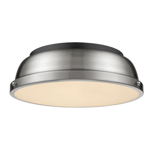 Duncan Matte Black 14-Inch Two-Light Flush Mount with a Pewter Shade