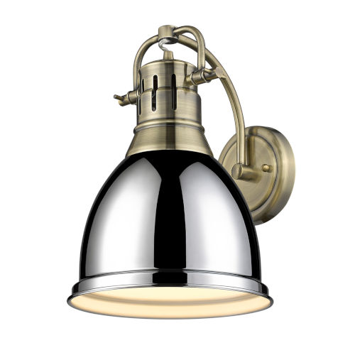Duncan Aged Brass Nine-Inch One-Light Wall Sconce with a Chrome Shade