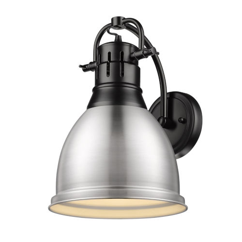 Golden Lighting Duncan Matte Black Nine Inch One Light Wall Sconce With A Pewter Shade 3602 1w Blk Pw Bellacor