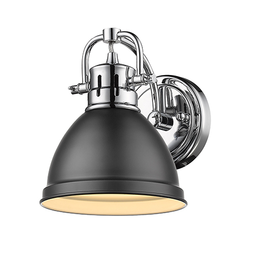 Duncan Chrome and Black Six-Inch One-Light Bath Wall Sconce