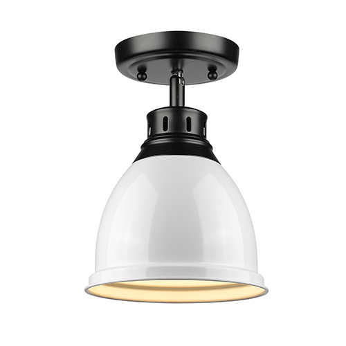 Duncan Black and White Eight-Inch One-Light Flush Mount