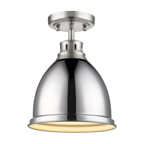 Duncan PW Pewter Nine-Inch One-Light Flush Mount with Chrome Shade