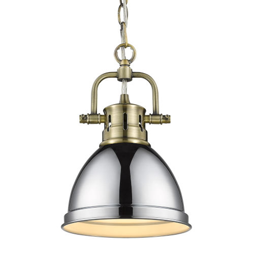 Duncan Aged Brass Seven-Inch One-Light Mini Pendant with Chrome Shade