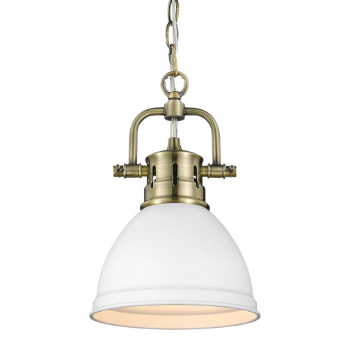 Duncan Aged Brass Seven-Inch One-Light Mini Pendant with Matte White Shade
