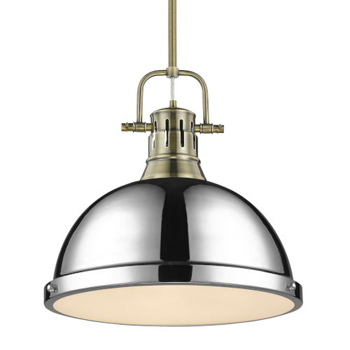 Duncan Aged Brass 14-Inch One-Light Pendant with Rod with Chrome Shade