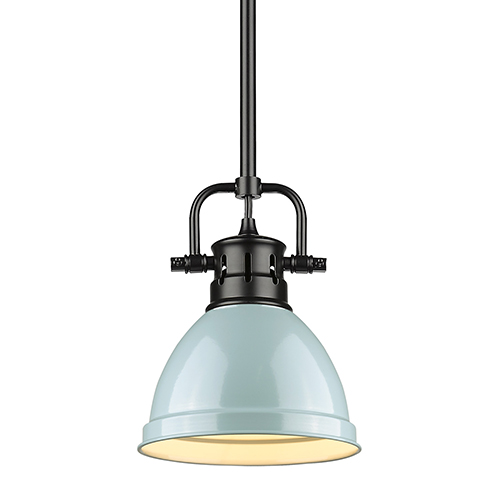 Duncan Black and Sea Foam Eight-Inch One-Light Mini Pendant