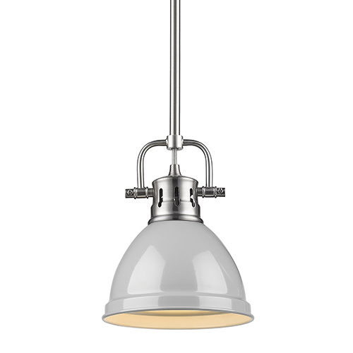 Golden Lighting Duncan Pewter and Grey Eight-Inch One-Light Mini Pendant