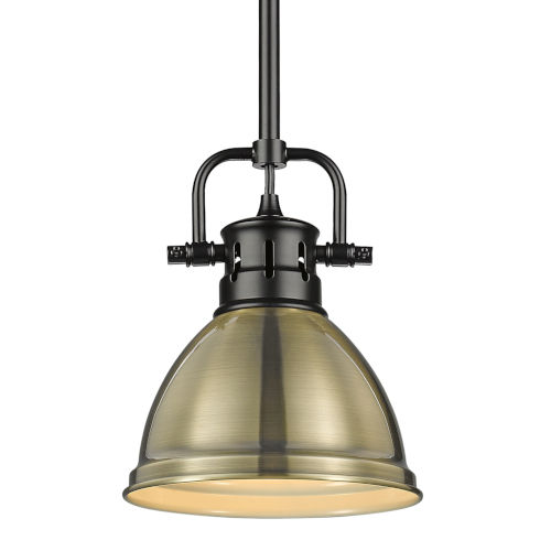 Duncan Matte Black Seven-Inch One-Light Mini Pendant with Rod and Aged Brass Shade