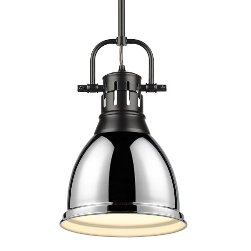 Duncan Matte Black Nine-Inch One-Light Mini Pendant with Rod and Chrome Shade