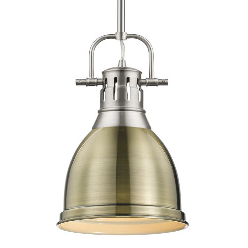 Duncan PW Pewter Nine-Inch One-Light Mini Pendant with Rod and Aged Brass Shade