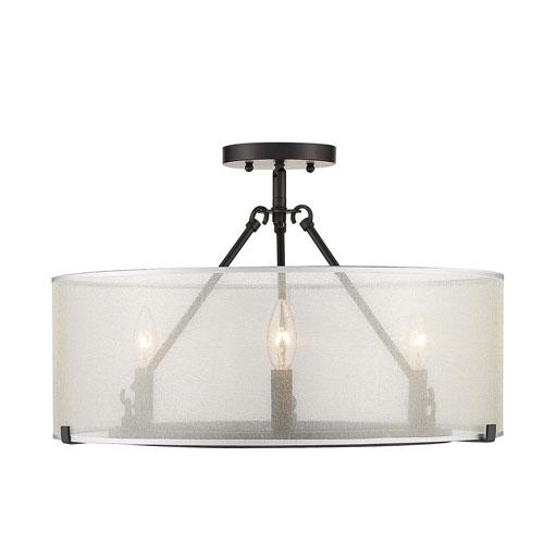 Alyssa Matte Black 20-Inch Three-Light Semi-Flush Mount With Sterling Mist Shade