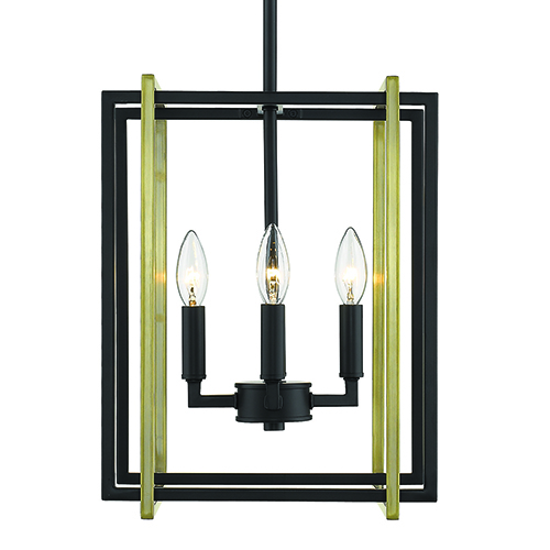 Golden Lighting Tribeca Black and Aged Brass 12-Inch Four-Light Mini Chandelier
