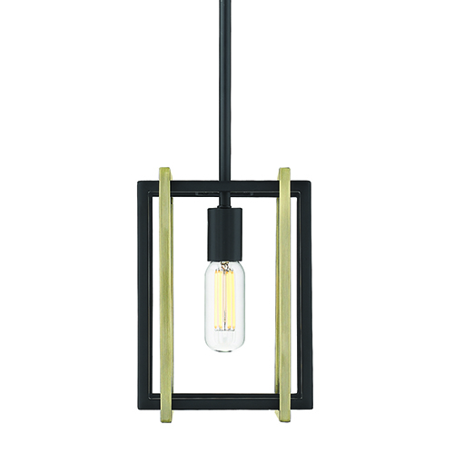 Tribeca Black and Aged Brass Seven-Inch One-Light Mini Pendant