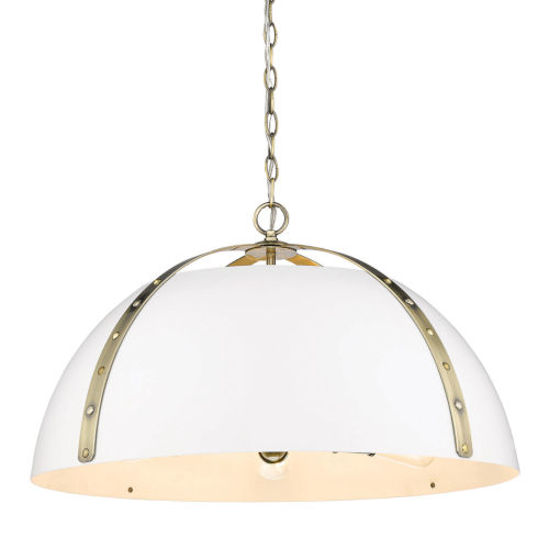 Aldrich Aged Brass Matte White 25-Inch Five-Light Pendant