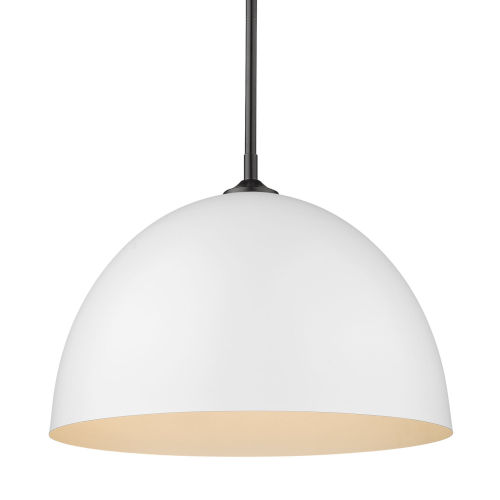 Zoey Matte Black 16-Inch One-Light Pendant with Matte White Shade