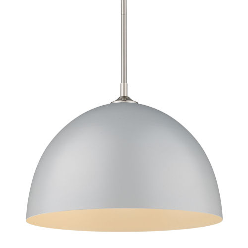 Zoey Pewter 16-Inch One-Light Pendant with Matte Gray Shade