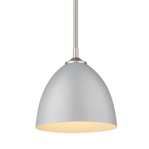 Zoey Pewter Nine-Inch One-Light Mini Pendant with Matte Gray Shade