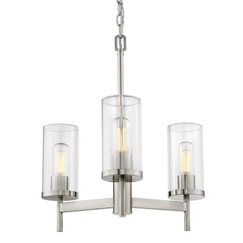 Winslett Pewter 20-Inch Three-Light Chandelier with Ribbed Clear Glass Shade
