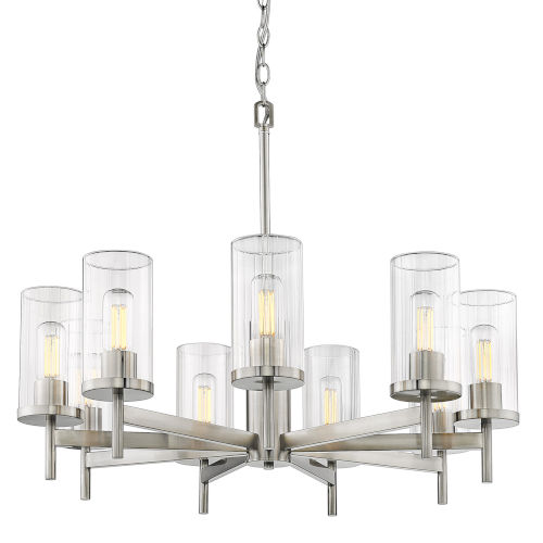 Winslett Pewter 30-Inch Nine-Light Chandelier with Ribbed Clear Glass Shade