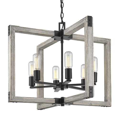 Lowell Black Six-Light Chandelier
