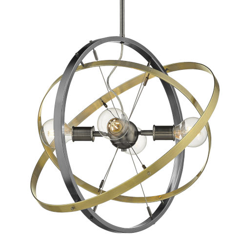 Atom Brushed Steel Aged Brass 22-Inch Four-Light Chandelier