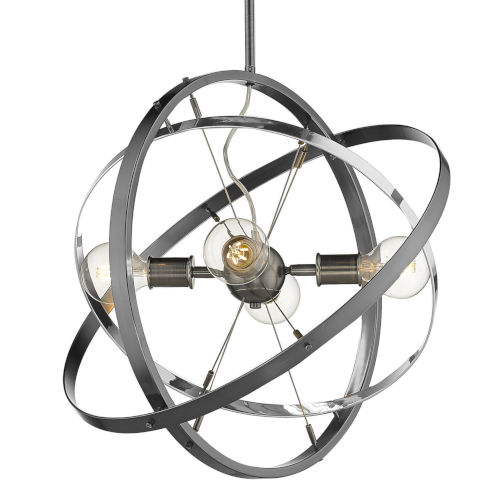 Atom Brushed Steel Chrome Black 22-Inch Four-Light Chandelier