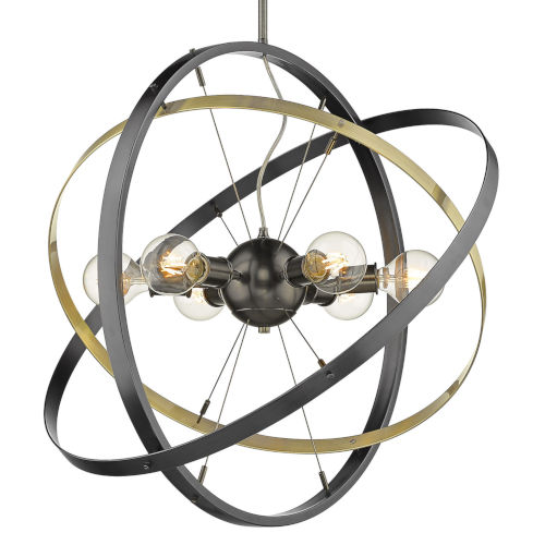 Atom Brushed Steel Aged Brass Black 28-Inch Six-Light Chandelier