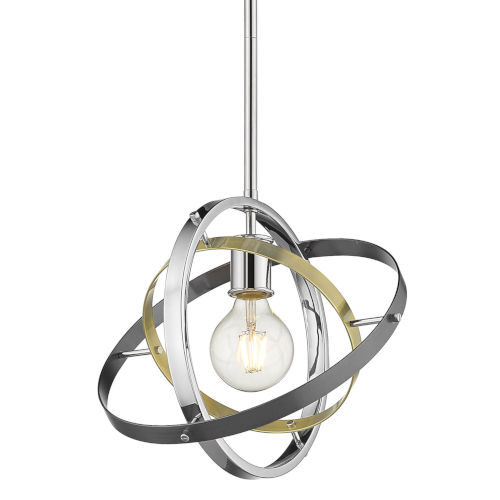 Atom Chrome Aged Brass Brushed Steel 12-Inch One-Light Pendant