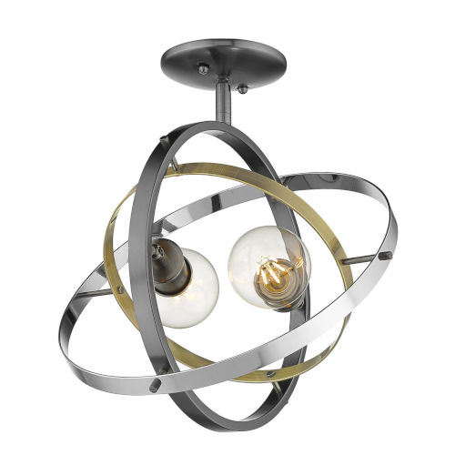Atom Brushed Steel Aged Brass Chrome 14-Inch Two-Light Semi Flush Mount