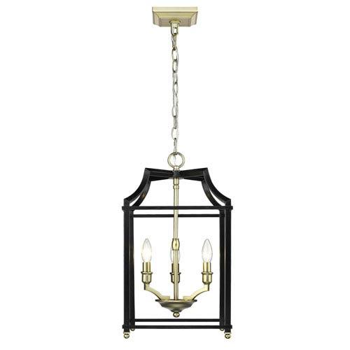 Leighton Satin Brass and Black 12-Inch Three-Light Lantern Pendant