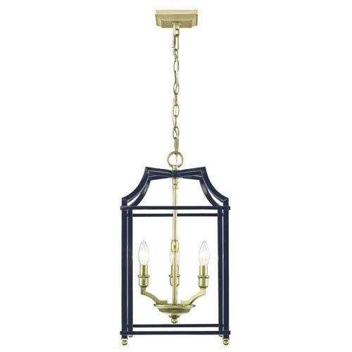 Golden Lighting Leighton Satin Brass and Navy 12-Inch Three-Light Lantern Pendant
