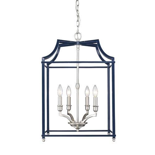 Leighton Pewter and Navy 17-Inch Four-Light Lantern Pendant
