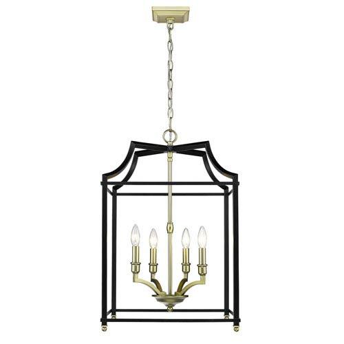 Leighton Satin Brass and Black 17-Inch Four-Light Lantern Pendant