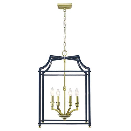 Leighton Satin Brass and Navy 17-Inch Four-Light Lantern Pendant