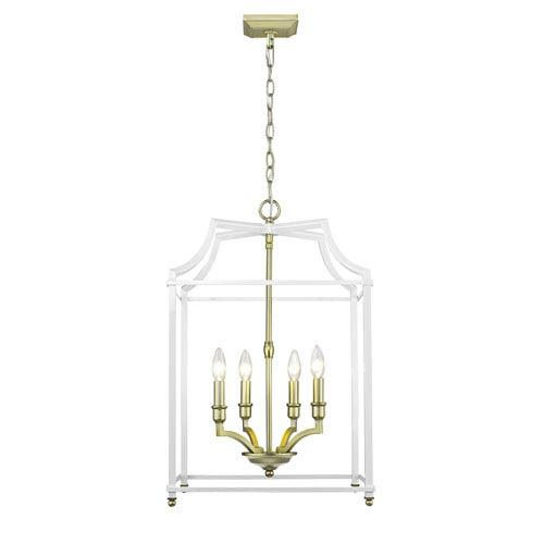 Leighton Satin Brass and White 17-Inch Four-Light Lantern Pendant