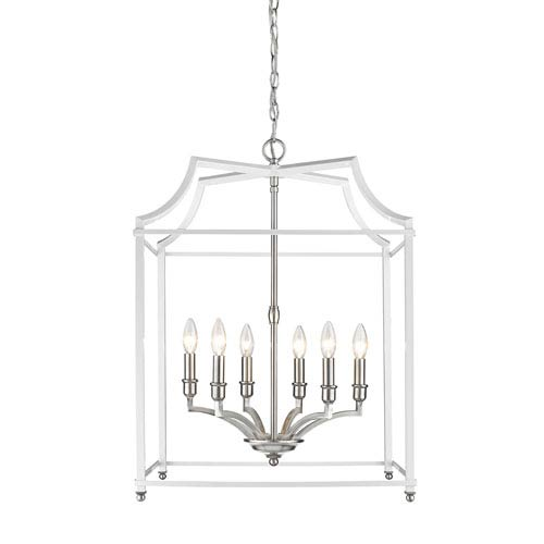 Leighton Pewter and White 21-Inch Six-Light Lantern Pendant