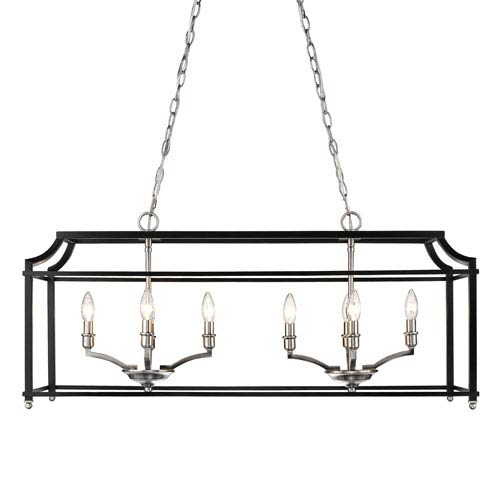 Leighton Pewter and Black Eight-Light Linear Pendant
