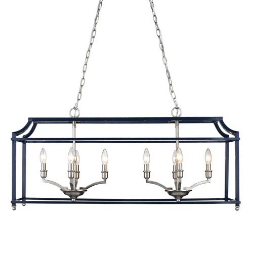 Leighton Pewter and Navy Eight-Light Linear Pendant