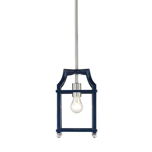 Leighton Pewter and Navy Lantern Mini Pendant